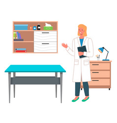 young woman doctor or vet in doctor s office vector image