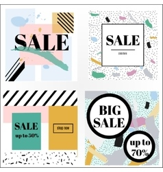 Artistic trendy memphis sale banners vector image vector image