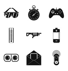 battery charge icons set simple style vector image vector image