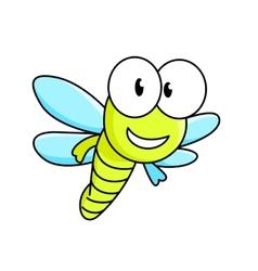 Cartoon dragonfly character vector image
