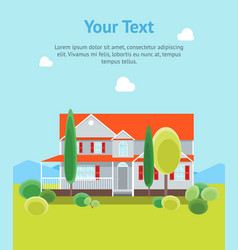 cartoon house building day time banner card vector image