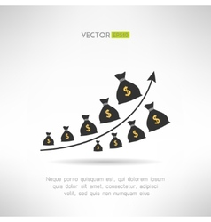 Financial graph with money bags Income raise vector image vector image