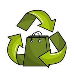 green bag inside of recycling symbol vector image vector image