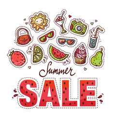 summer sale design with doodles vector image vector image