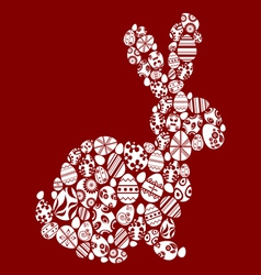 Rabbit made from small egg symbols vector image vector image