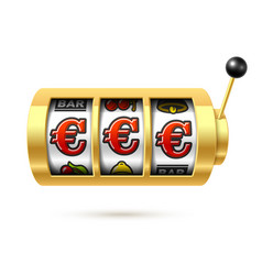 slot machine with euro jackpot on bright vector image vector image