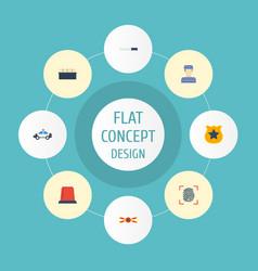 flat icons warning strip officer emblem vector image vector image