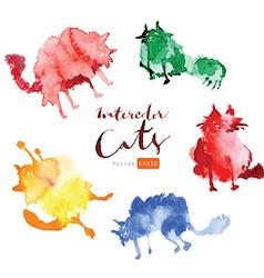 Funny watercolor cats vector image