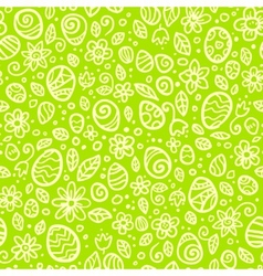 Green Easter doodles seamless pattern vector image vector image