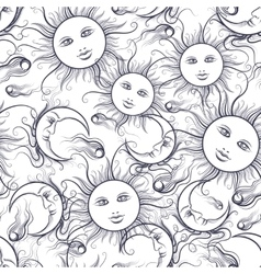 Pajamas sun and moon seamless pattern vector image