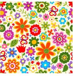 Seamless flower colour pattern vector