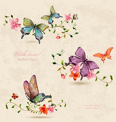 vintage a collection of butterflies on flowers vector image vector image
