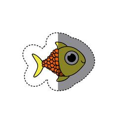 yellow happy fish scalescartoon icon vector image vector image