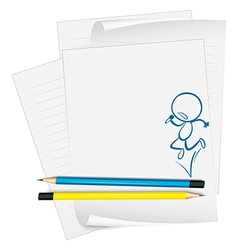 A paper with a drawing of a boy singing vector image vector image