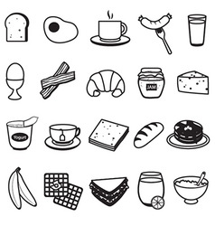 Basic Breakfast Icons Set vector image