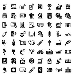 Big electronic devices icons set vector
