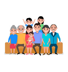 cartoon big happy family on the sofa vector image