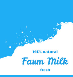 farm natural fresh milk splash wave stream vector image