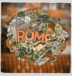 rome hand lettering and doodles elements and vector image vector image