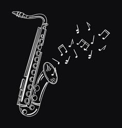 saxophone playing melody wind musical instrument vector image