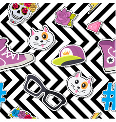 seamless pattern with cap cat glasses thunder vector image vector image