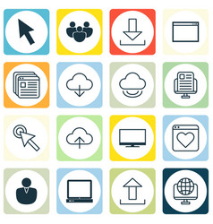 set of 16 internet icons includes website vector image vector image
