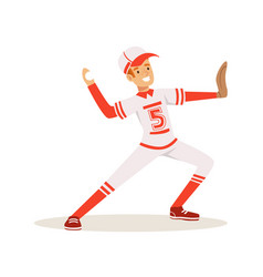 smiling baseball player in a red uniform pitching vector image