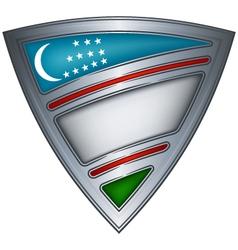 steel shield with flag uzbekistan vector image vector image