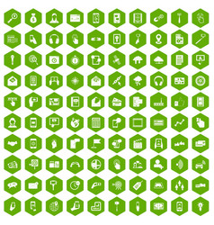 100 mobile icons hexagon green vector