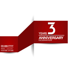 3 years anniversary design with red and white vector