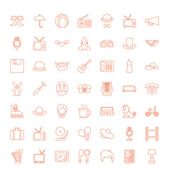 49 retro icons vector image