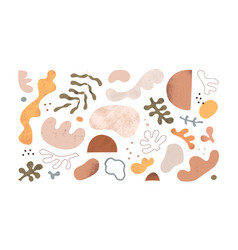 Abstract doodle shapes blobs plants and leaf set vector