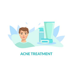Acne treatment banner template guy with skin vector