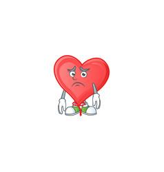 Afraid red love balloon cartoon character mascot vector
