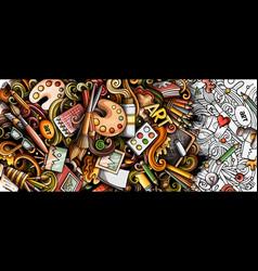 artist hand drawn doodle banner cartoon detailed vector image