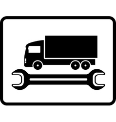 auto service icon with truck and spanner vector image