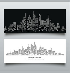 Banners abstract building dot black and white vector