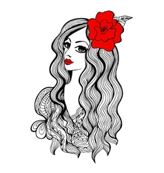 Beautiful girl with red flower in hair vector image