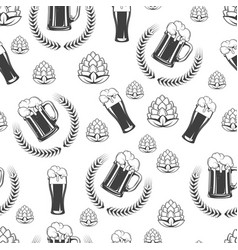 beer glass with hops and wheat wreath seamless vector image