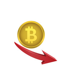 Bitcoin symbol with red arrow vector