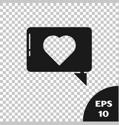 Black like and heart icon isolated on transparent vector