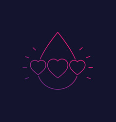 blood donation logo with hearts linear vector image
