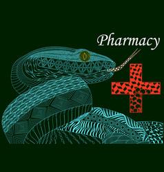 blue snake with a cross in zenart stylepharmacy vector image