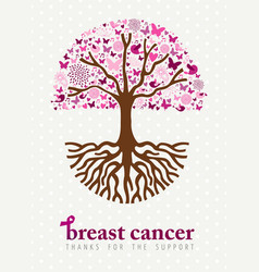 Breast cancer awareness month pink spring tree art vector