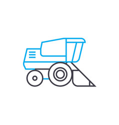 Bulldozer thin line stroke icon bulldozer vector