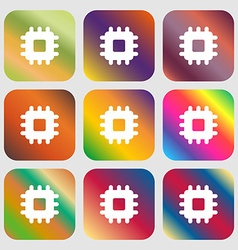 Central Processing Unit icon Nine buttons with vector image