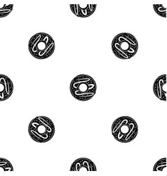 chocolate donut pattern seamless black vector image