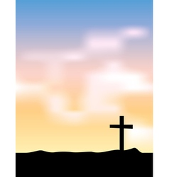 Christian Cross Silhouette at Sunrise vector image