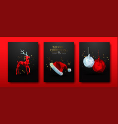 christmas set red low poly abstract 3d decoration vector image