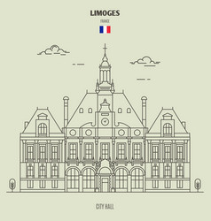 city hall in limoges vector image